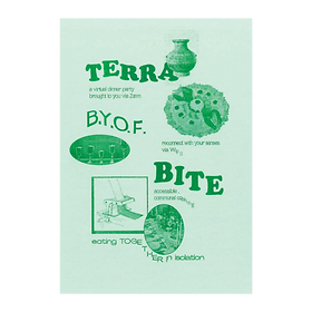 Green risograph printed post card for online dinner party Terra Bite