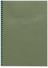 Green embossed book cover with coil binding, saying Eight Out of Ten