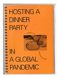 Orange book cover with the title Hosting a Dinner Party in a Global Pandemic