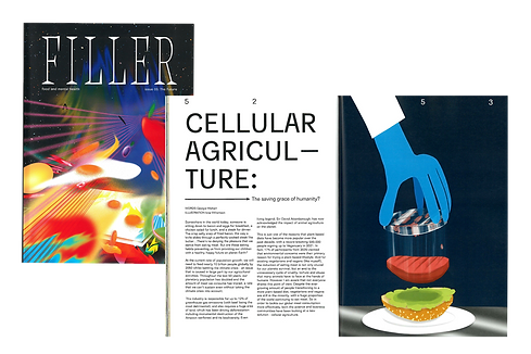 FILLER magazine cover with space food illustration, and double page spread about cellular agriculture with an illustration of a burger in a petri dish