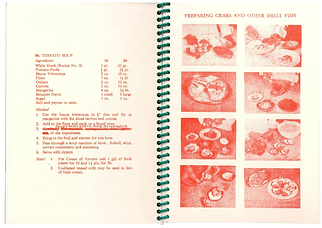 Double page spread showing red risograph recipes from 1960s Army Catering Corps