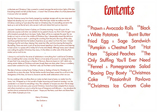 Double page spread showing an essay by Bre Graham and a contents page of recipe book, in red type