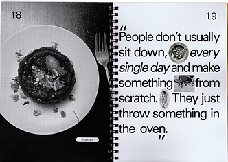 Double page book spread in black and white with a photo of a pear and chocolate tart, and a quote