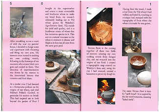 Pink double page magazine spread featuring an essay and photographs about clay, bread making and flour milling