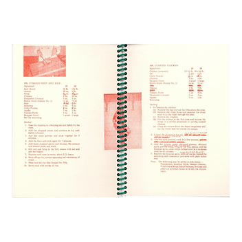 Double page spread showing red risograph printed recipes from 1960s Army Catering Corps