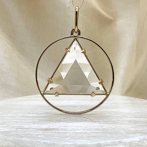 "1"" Vogel CircleStar, Clear Quartz and 14k Gold"