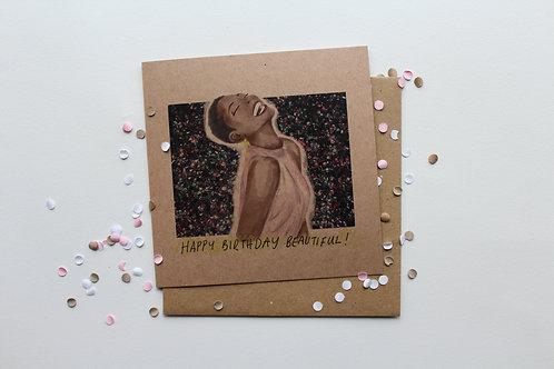 Happy Birthday Beautiful- Brown Card
