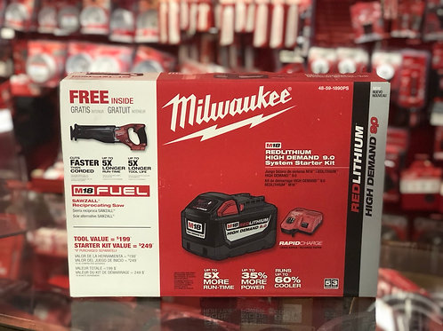 Milwaukee - M18 REDLITHIUM HIGH DEMAND 9.0AH System Starter Kit with Free Recip