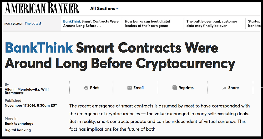 Next American Banker Article about Smart Contracts and ACTUS
