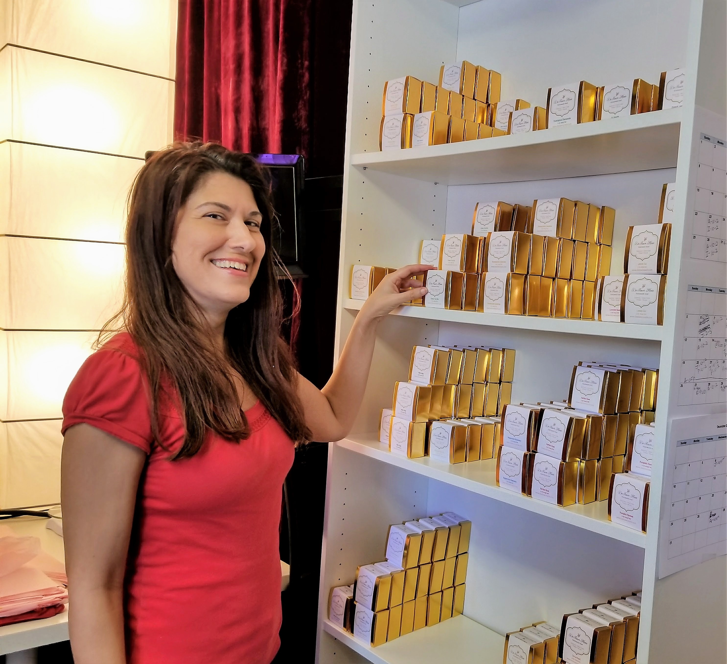 Paula stocking the shelves