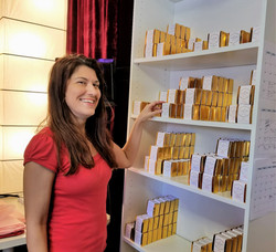 Paula stocking the shelves