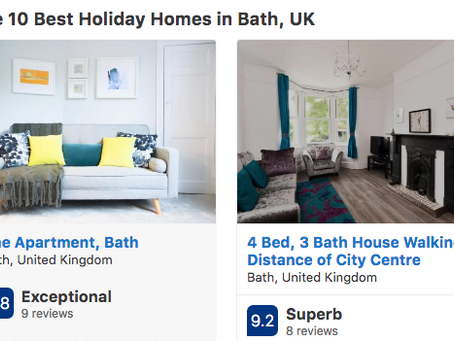 We're in Booking.com's 10 Best Holiday Homes in Bath!