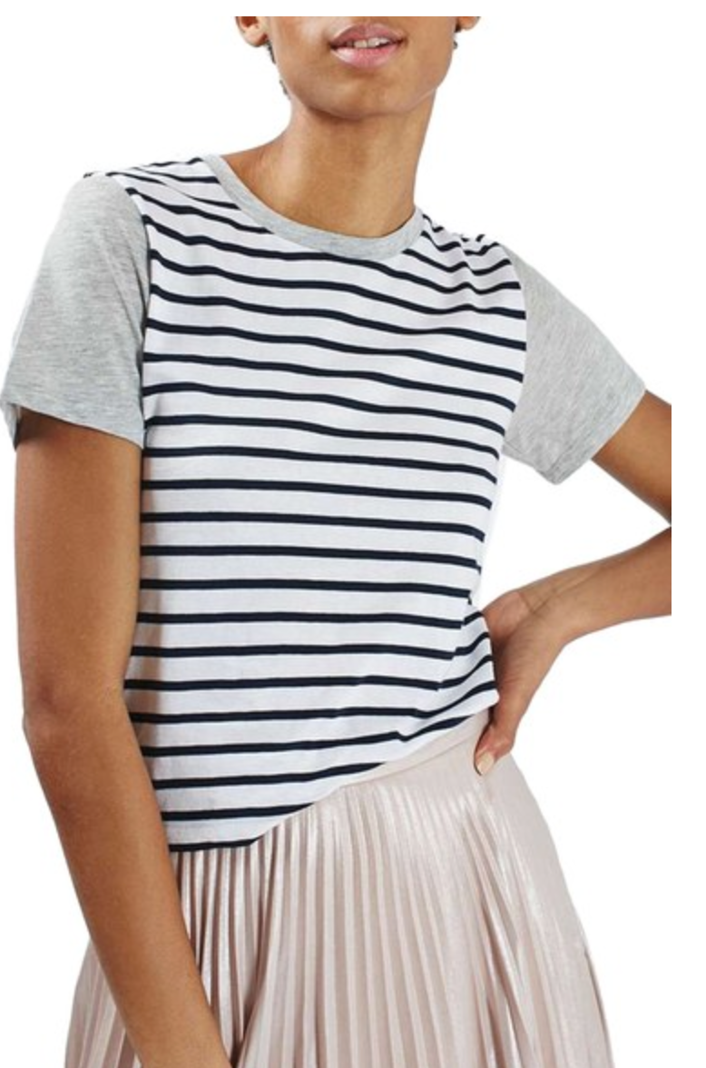 Topshop Colorblock Stripe Tee