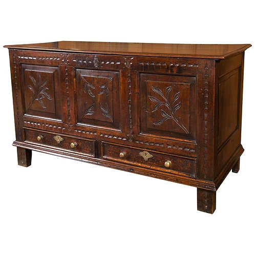 Carved elm mule chest
