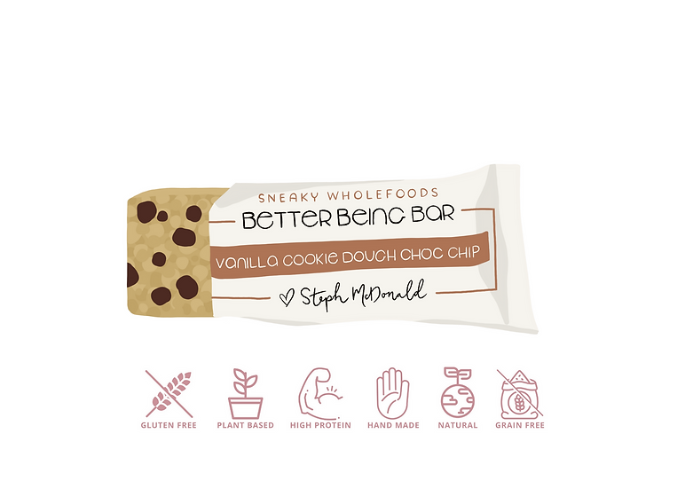 Vanilla Cookie Dough Choc Chip Better Being Bar 60g