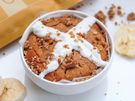 Mini Salted Banana Caramel Hot Cross Bun Pudding - Single Serve