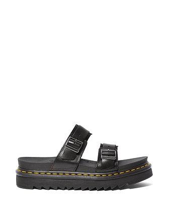 Dr. Martens Myles Brando Leather Buckle Slide Sandal - Black