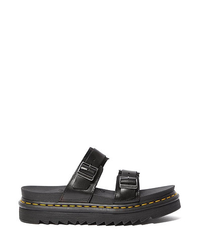 Dr. Martens Myles Brando Leather Buckle Slide Sandal - Black