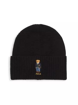 Polo RL Bear - St. Andrew Aran Bear Embroidery Beanie Hat - Black