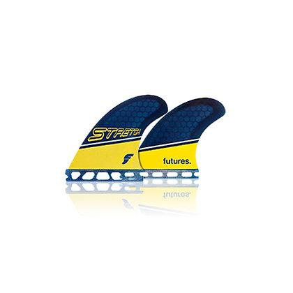 Futures Fins Stretch Honey Comb Quad Fin Set - Yellow/Blue