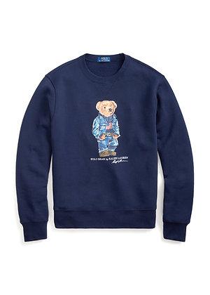 Polo RL Denim Bear Fleece Sweatshirt - Cruise Navy