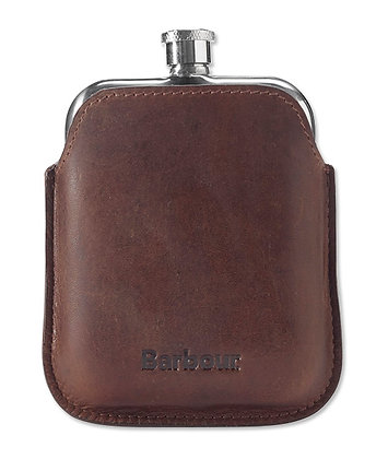 Barbour Waxed Leather Hip Flask - Brown
