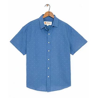 Mollusk Summer Shirt - Blue/Natural Dobby