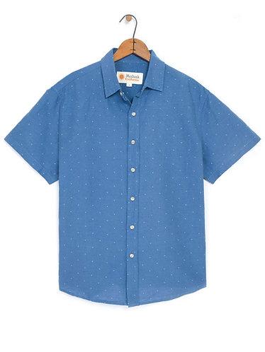 Mollusk Summer Shirt - Blue / Natural Dobby