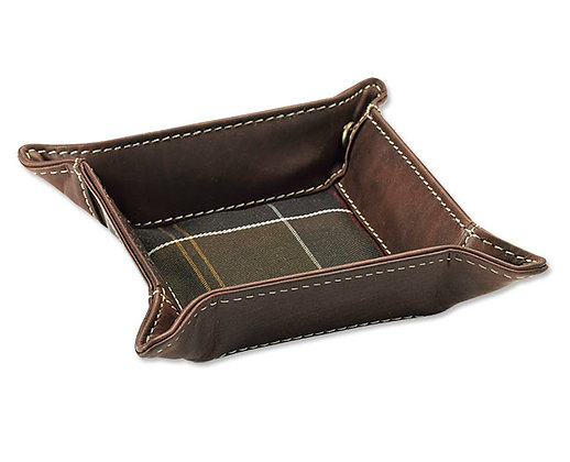 Barbour Tartan and Leather Valet Tray - Brown