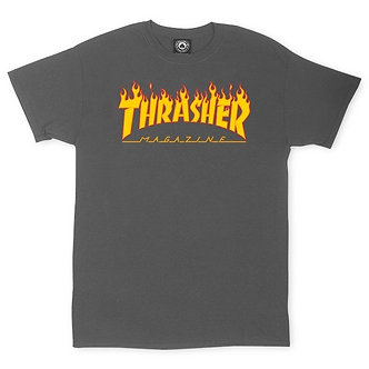Thrasher Flame Logo Tee - Charcoal
