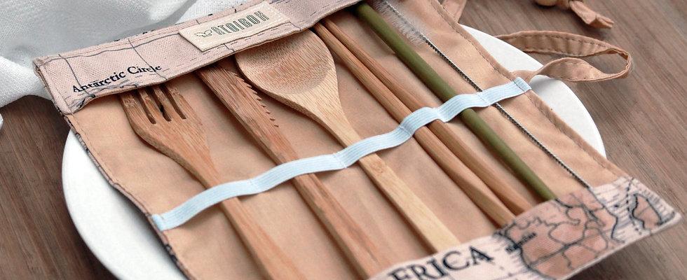 Into the world | Kit de couverts de voyage en bambou