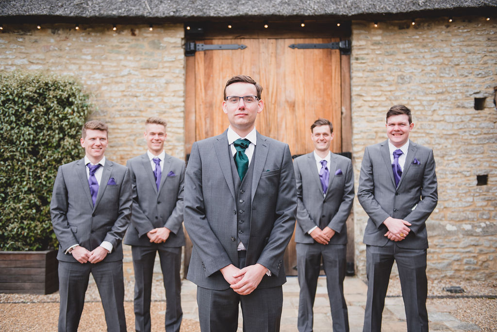 Groom and his groomsmen outside The Tythe Barn