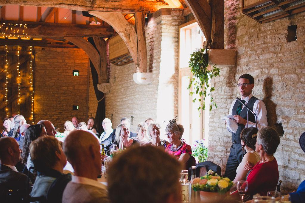 Groom Speech during the wedding breakfast in Oxfordshire