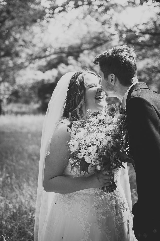 Romantic couple's photographs on their wedding day