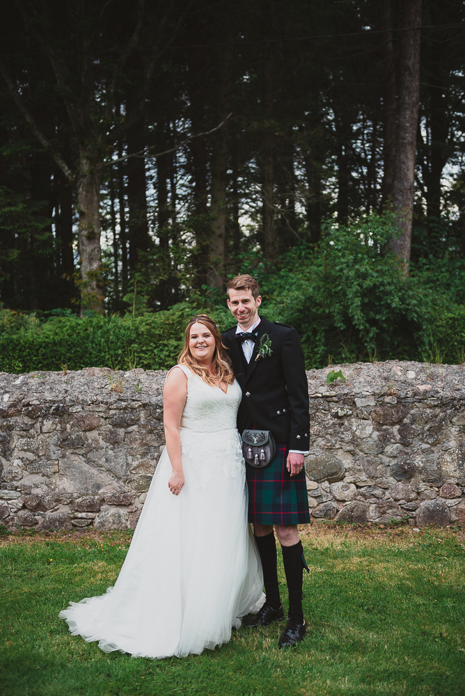 Bride and Groom on their wedding day in Inverness, Scotland