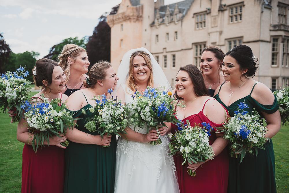 Bride tribe and the bride outside the castle venue