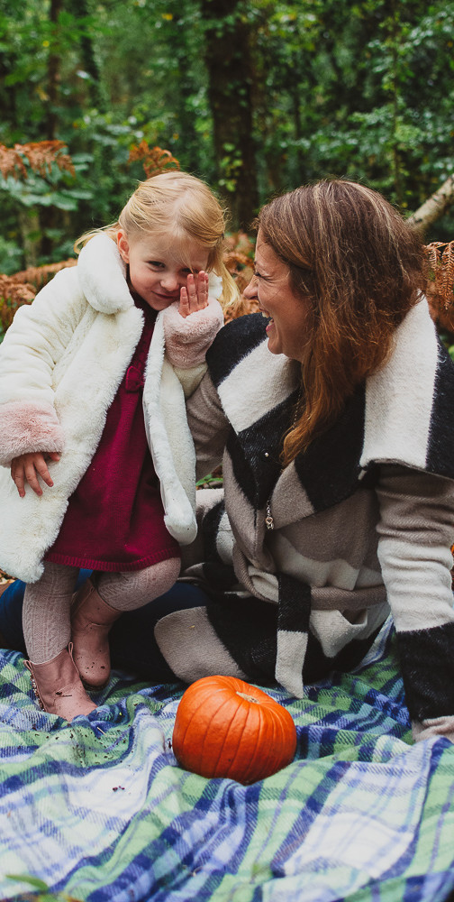 Mummy and me photoshoot, laughing together in autumn