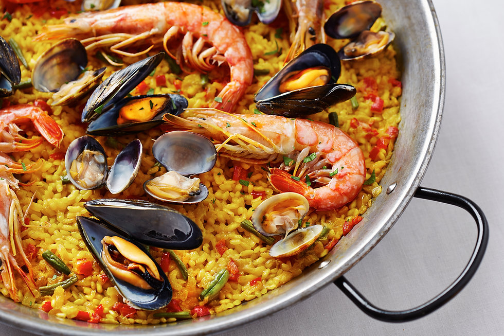 Typical spanish seafood paella in tradit