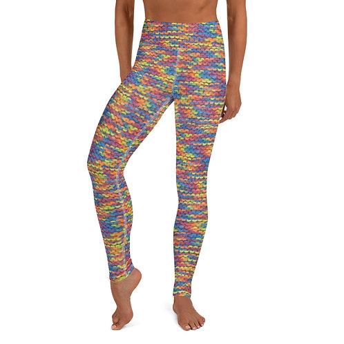 "Rainbow ""knit"" All-Over Yoga Leggings"