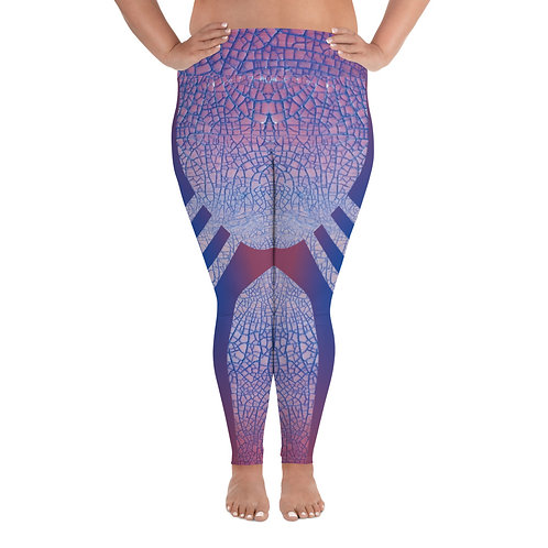 Pink Crackle All-Over Print Plus Size Leggings