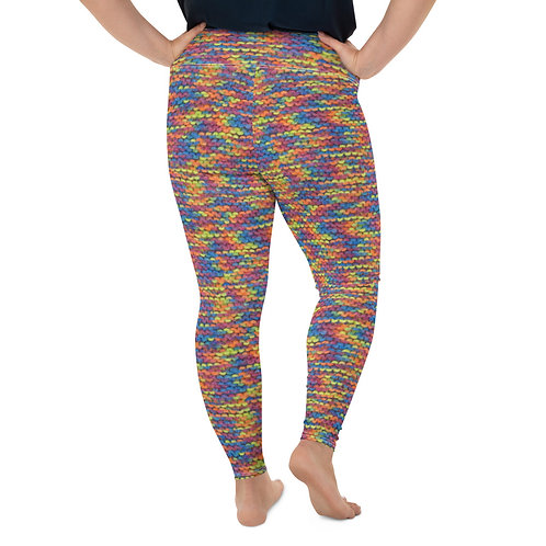 "Rainbow ""knit"" All-Over Print Plus Size Leggings"