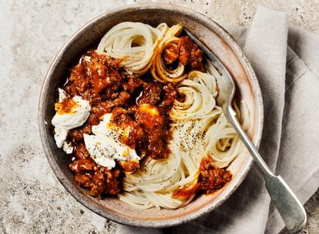 Meat, spaghetti squash and pasta dish