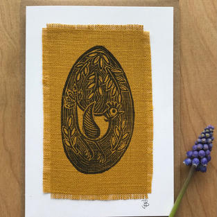 Chicken and egg card - yellow linen £3.50