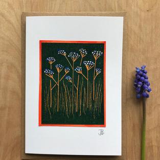 Botanical print card - blue/orange - £3.50
