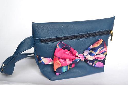 Banana sac XL bleu marine & fleurs fuschia