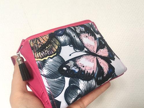 Portefeuille fuchsia & papillons
