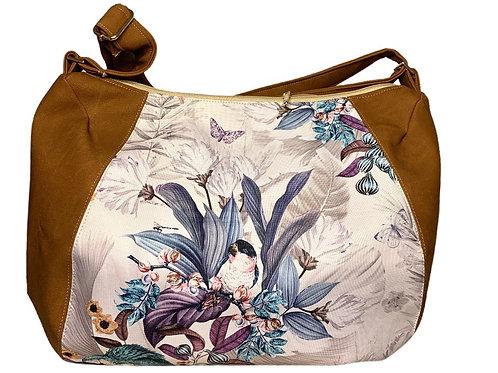 Un CITY BAG DEMI LUNE marron mat & perroquets blancs