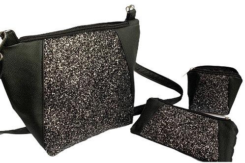 Un sac MEDIO P noir paillettes