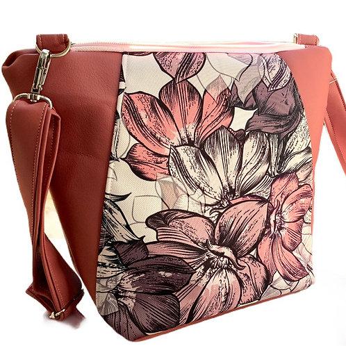 Un sac bandoulière MEDIO P vieux rose & fleurs dessinés