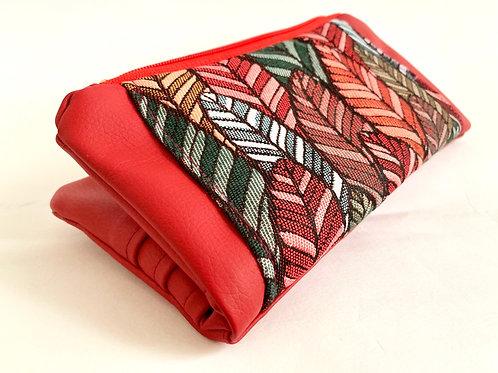Un portefeuille L rouge & plumes